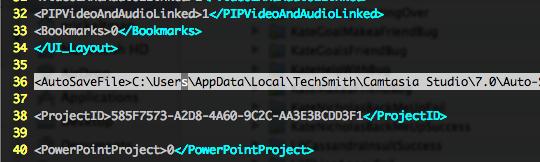 .camproject directory illustrating 7.0 application folder